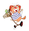 cute cat clown cartoon vector image