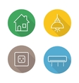 Home interior linear flat icons set vector image