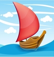 Romantic boat with red sail on a cloudy background vector image vector image