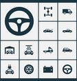automobile icons set collection of transport vector image