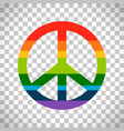 rainbow peace symbol on transparent background vector image