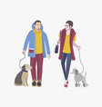 young guy and girl walking with dogs colorful vector image