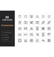 30 protection line icons vector image