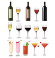 glass of red wine and bottle vector image
