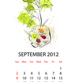 calendar with vegetables for 2012 september vector image vector image