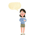 cartoon proud woman with speech bubble vector image