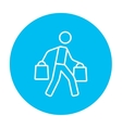 Man carrying shopping bags line icon vector image
