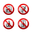set prohibited signs - elevator vector image vector image