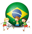 Boys playing soccer with the flag of Brazil vector image