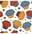 Colorful seamless pattern with cupcakes and hearts vector image vector image