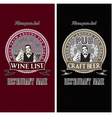 set of menu templates for wine and beer vector image vector image
