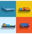 Transportation concept flat icons vector image vector image