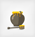 honey pot with bee and wooden dipper vector image
