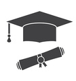 Graduation Hat and Diploma Outline Icon vector image
