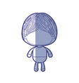 blue shading silhouette of faceless little boy vector image