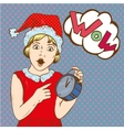 Girl holding clock and waiting for christmas or vector image