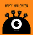 happy halloween card monster head silhouette with vector image