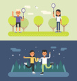 Set of Concept Flat Style Sport Male and Female vector image