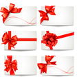 Set of gift card notes with red bows and ribbons vector image vector image