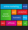 online marketing flat icons with metro style vector image