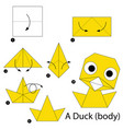 step instructions how to make origami a duck vector image