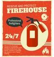 Firefighting retro poster vector image