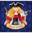 Beautiful female pirate with bomb Banner for vector image