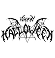 Halloween emblem in metal rock music style vector image