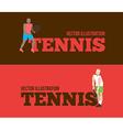 Tennis figure peoples with tennis racket set vector image