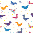 Birds funny seamless pattern vector image