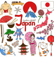 Collection of Japan icons vector image
