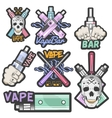 colorful set of vape bar stickers banners vector image