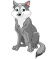 cute cartoon wolf vector image