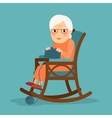 Old woman knitting vector image