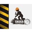 under construction poster worker hammer gear vector image