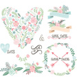 Wedding Floral set Labels Ribbons Hearts Arrow vector image