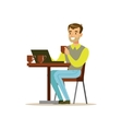 Man Drinking His Third Cup Of Coffee In The Coffee vector image