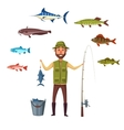 Fisher man fish catch of isolated fishes vector image vector image