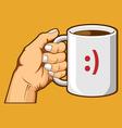 Hand Holding Coffee Mug vector image vector image