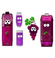 Smiling violet grape juice cartoon characters vector image
