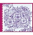 floral ink pattern vector image vector image