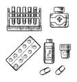 Blood test tubes bottles and pills sketch vector image