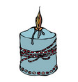 fat burning candle with ribbon ink vector image