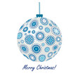 greeting card with blue christmas ball made of vector image