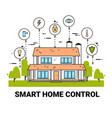 smart home control infographic modern house vector image