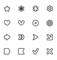 Simple common contour style icon set vector image
