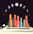 Moon Phases above Night City Flat Design Abstract vector image vector image