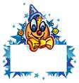 clown whit banner on star vector image