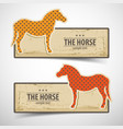 colored horse design banners set vector image