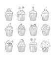 Cupcake set isolated vector image